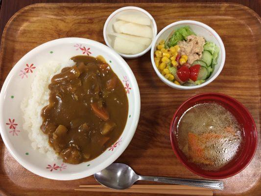 本日の献立:カレーライス、ツナサラダ、野菜スープ、梨